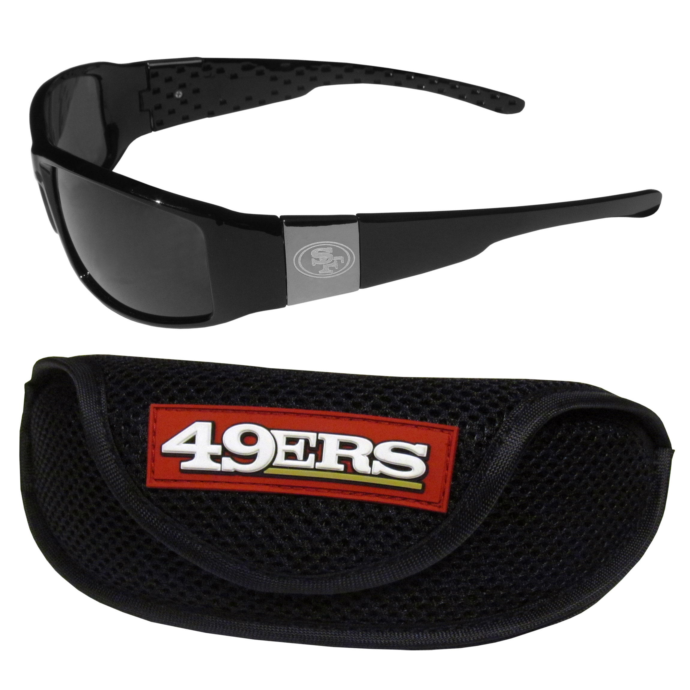 San Francisco 49ers Chrome Wrap Sunglasses and Sports Case - Our sleek and stylish San Francisco 49ers chrome wrap sunglasses and our sporty mesh case. The sunglasses feature etched team logos on each arm and 100% UVA/UVB protection. The case features a large and colorful team emblem.