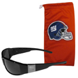 New York Giants Etched Chrome Wrap Sunglasses and Bag