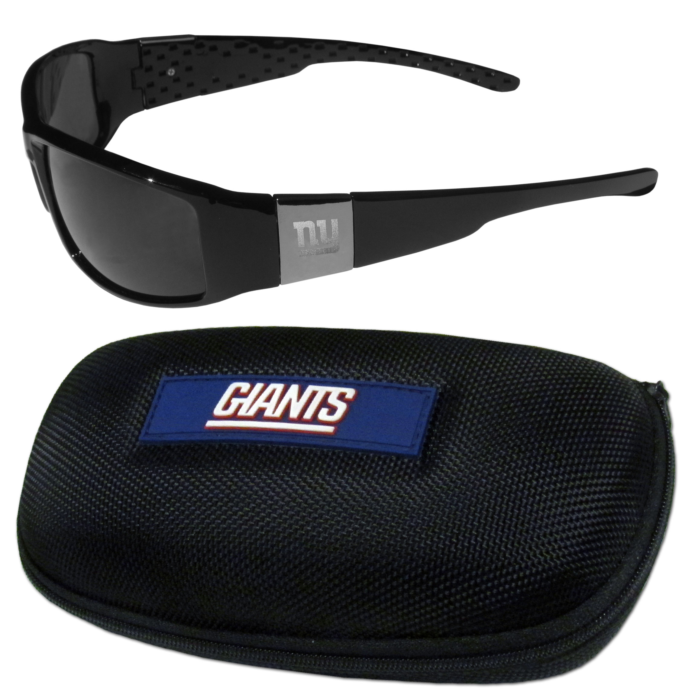 New York Giants Chrome Wrap Sunglasses and Zippered Carrying Case - This set includes our sleek and stylish New York Giants chrome wrap sunglasses and our hard shell, zippered carrying case. The sunglasses feature etched team logos on each arm and 100% UVA/UVB protection. The case features a large and colorful team emblem.