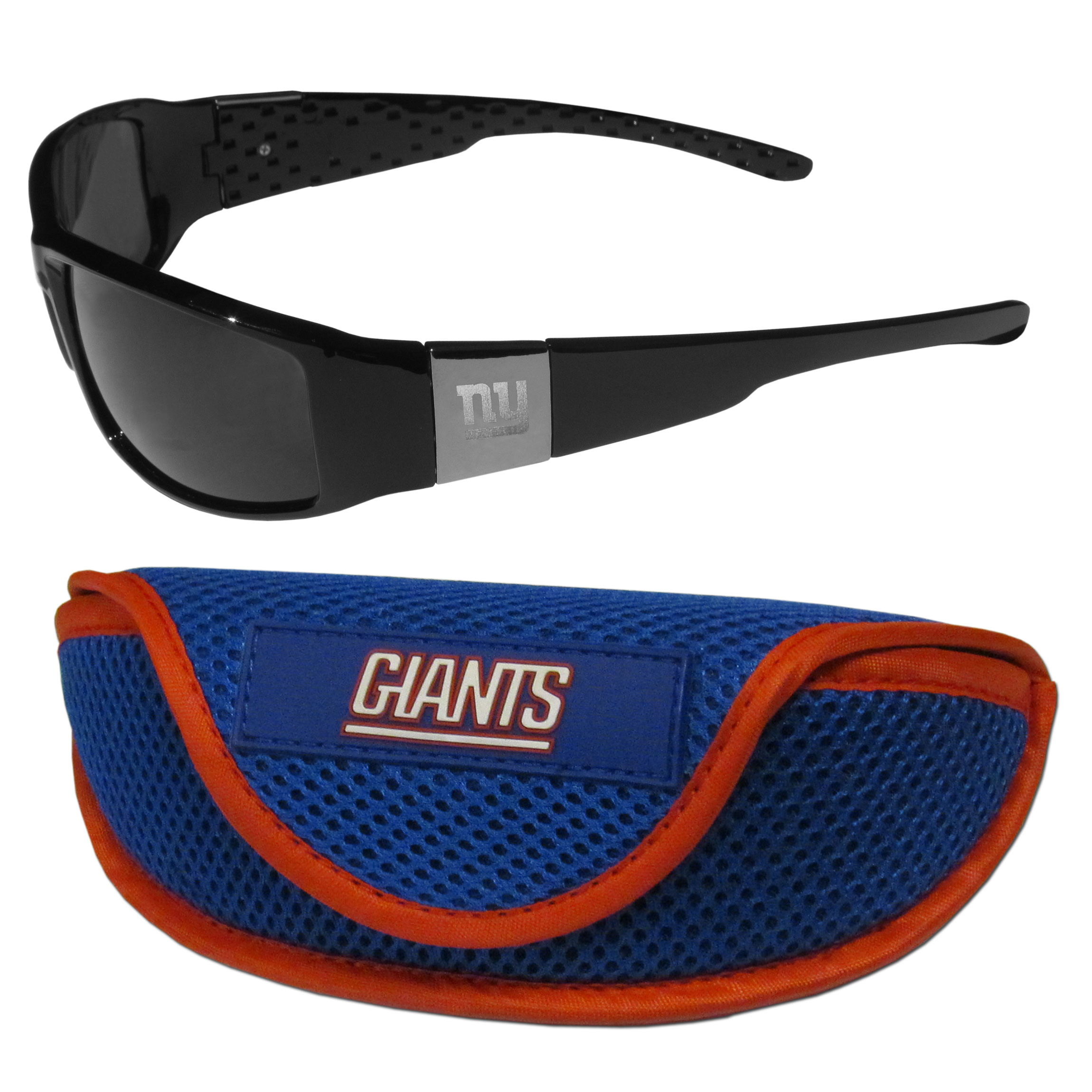 New York Giants Chrome Wrap Sunglasses and Sports Case - Our sleek and stylish New York Giants chrome wrap sunglasses and our sporty mesh case. The sunglasses feature etched team logos on each arm and 100% UVA/UVB protection. The case features a large and colorful team emblem.