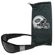 New York Jets Etched Chrome Wrap Sunglasses and Bag