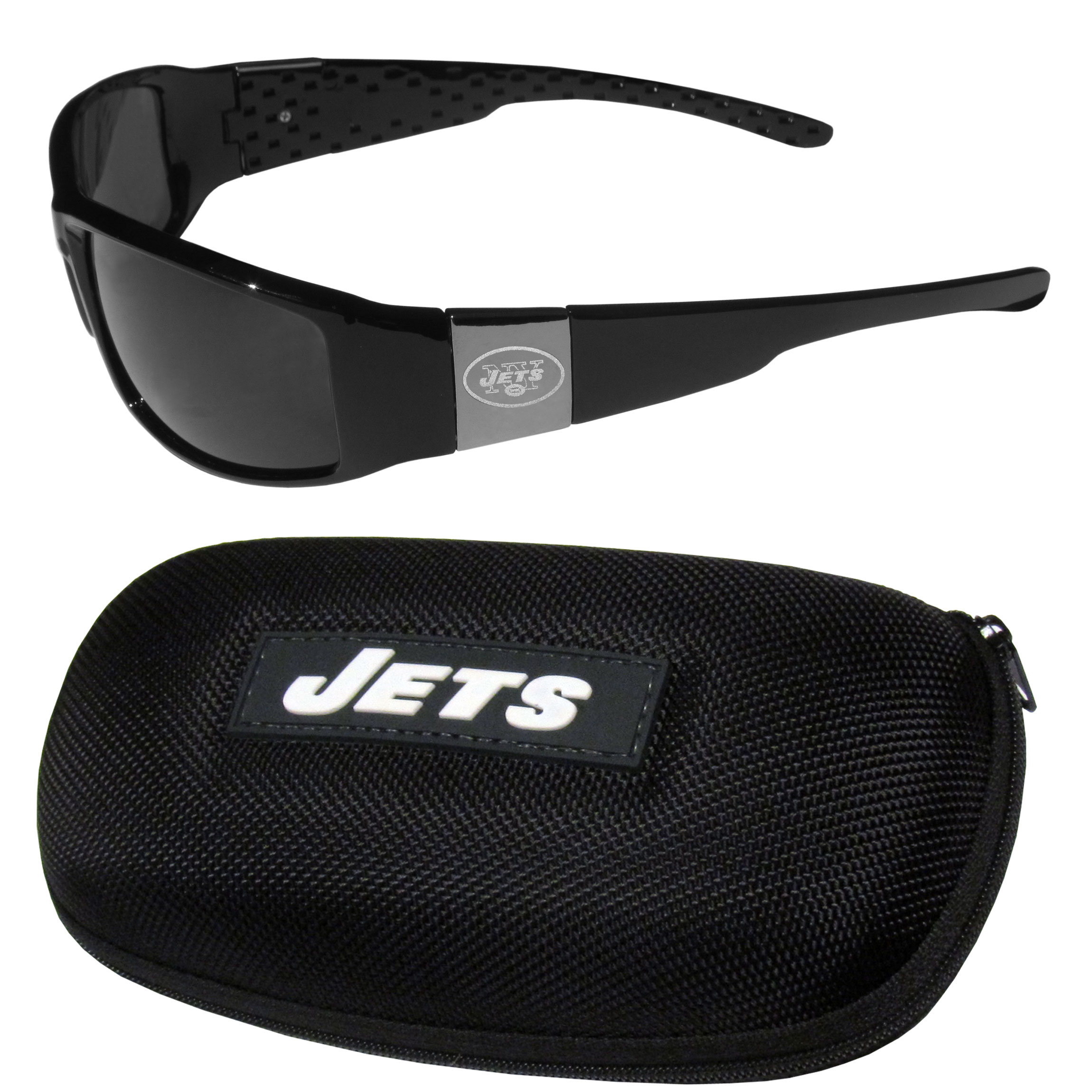 New York Jets Chrome Wrap Sunglasses and Zippered Carrying Case - This set includes our sleek and stylish New York Jets chrome wrap sunglasses and our hard shell, zippered carrying case. The sunglasses feature etched team logos on each arm and 100% UVA/UVB protection. The case features a large and colorful team emblem.
