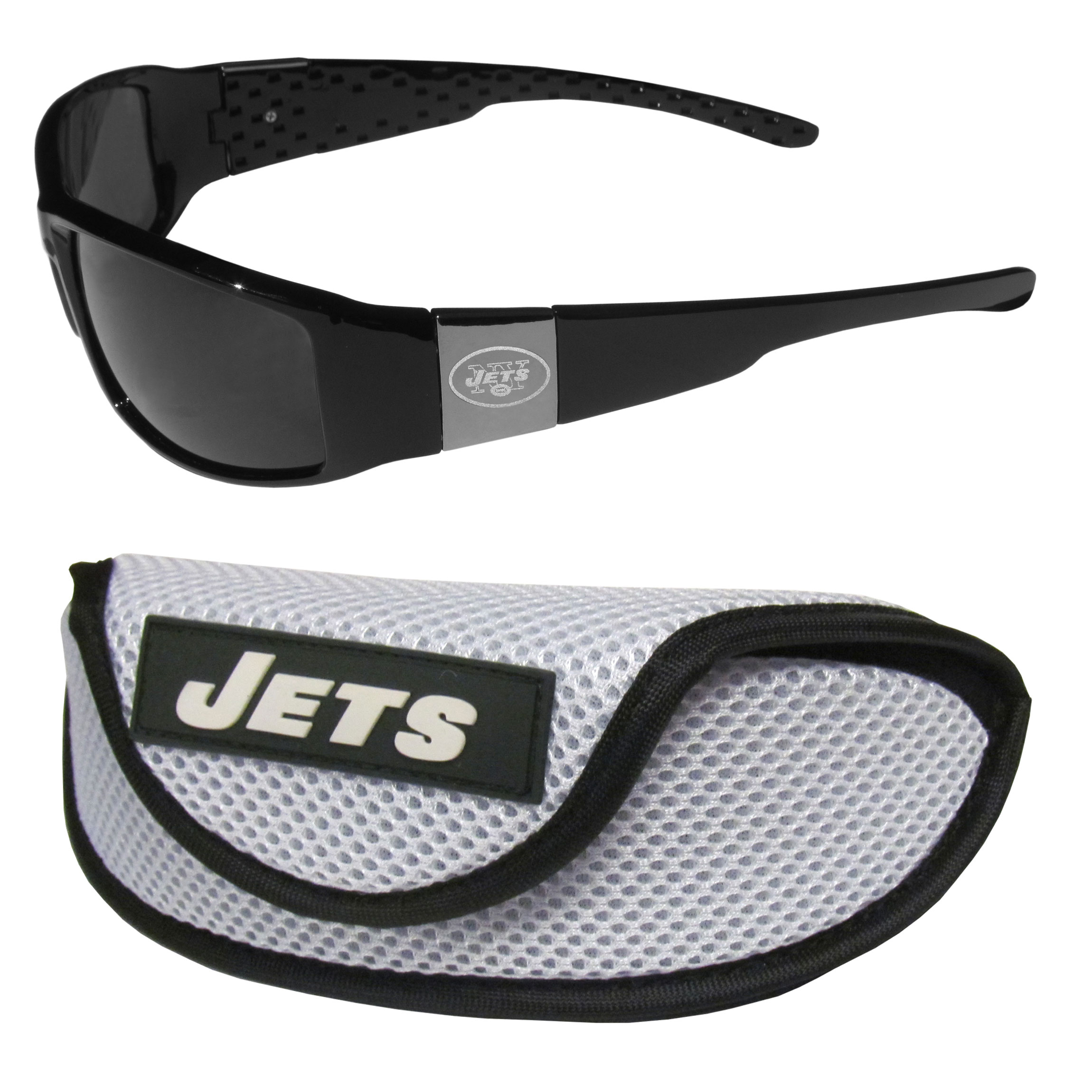 New York Jets Chrome Wrap Sunglasses and Sports Case - Our sleek and stylish New York Jets chrome wrap sunglasses and our sporty mesh case. The sunglasses feature etched team logos on each arm and 100% UVA/UVB protection. The case features a large and colorful team emblem.