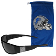 Detroit Lions Etched Chrome Wrap Sunglasses and Bag
