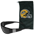 Green Bay Packers Etched Chrome Wrap Sunglasses and Bag