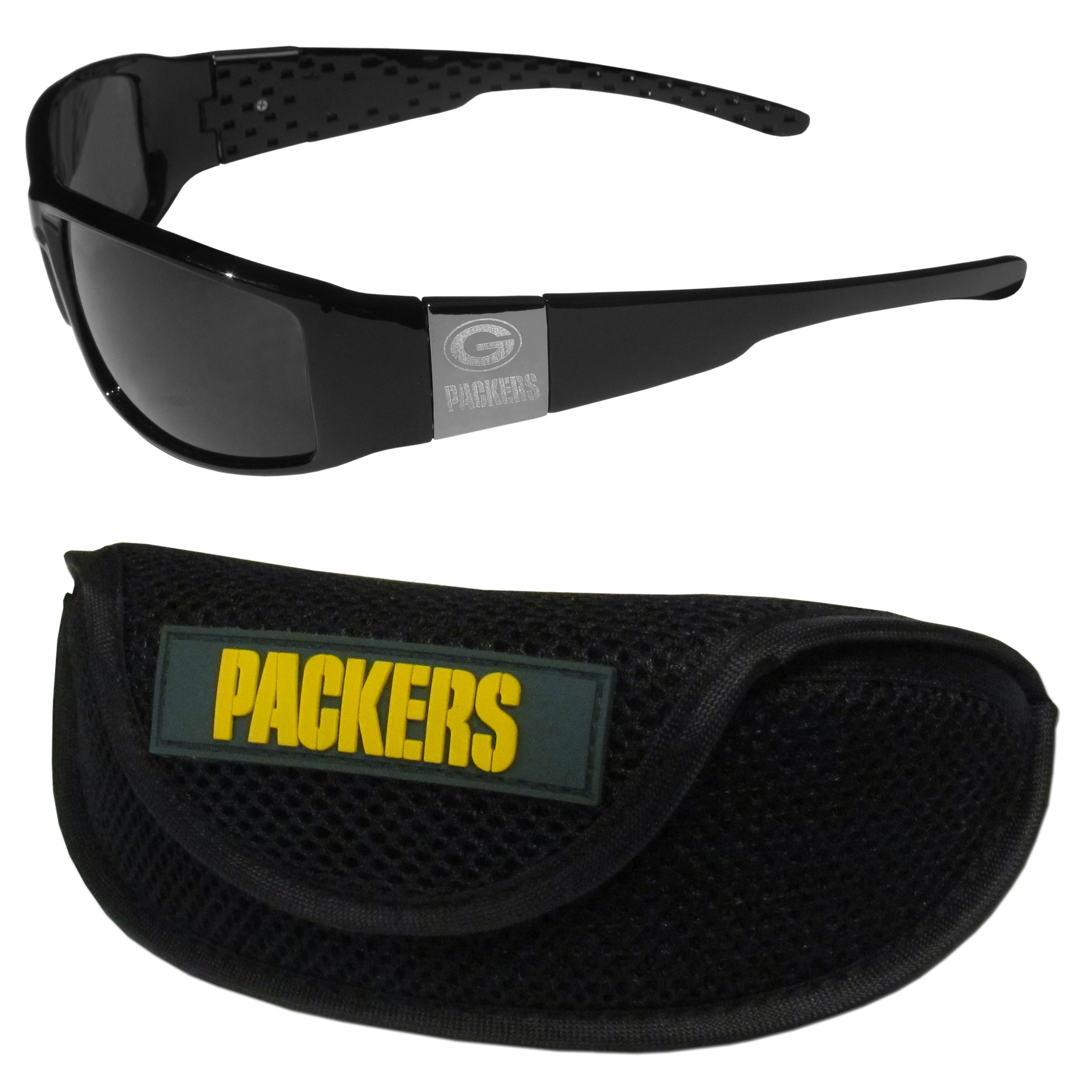 Green Bay Packers Chrome Wrap Sunglasses and Sports Case - Our sleek and stylish Green Bay Packers chrome wrap sunglasses and our sporty mesh case. The sunglasses feature etched team logos on each arm and 100% UVA/UVB protection. The case features a large and colorful team emblem.
