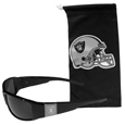 Oakland Raiders Etched Chrome Wrap Sunglasses and Bag