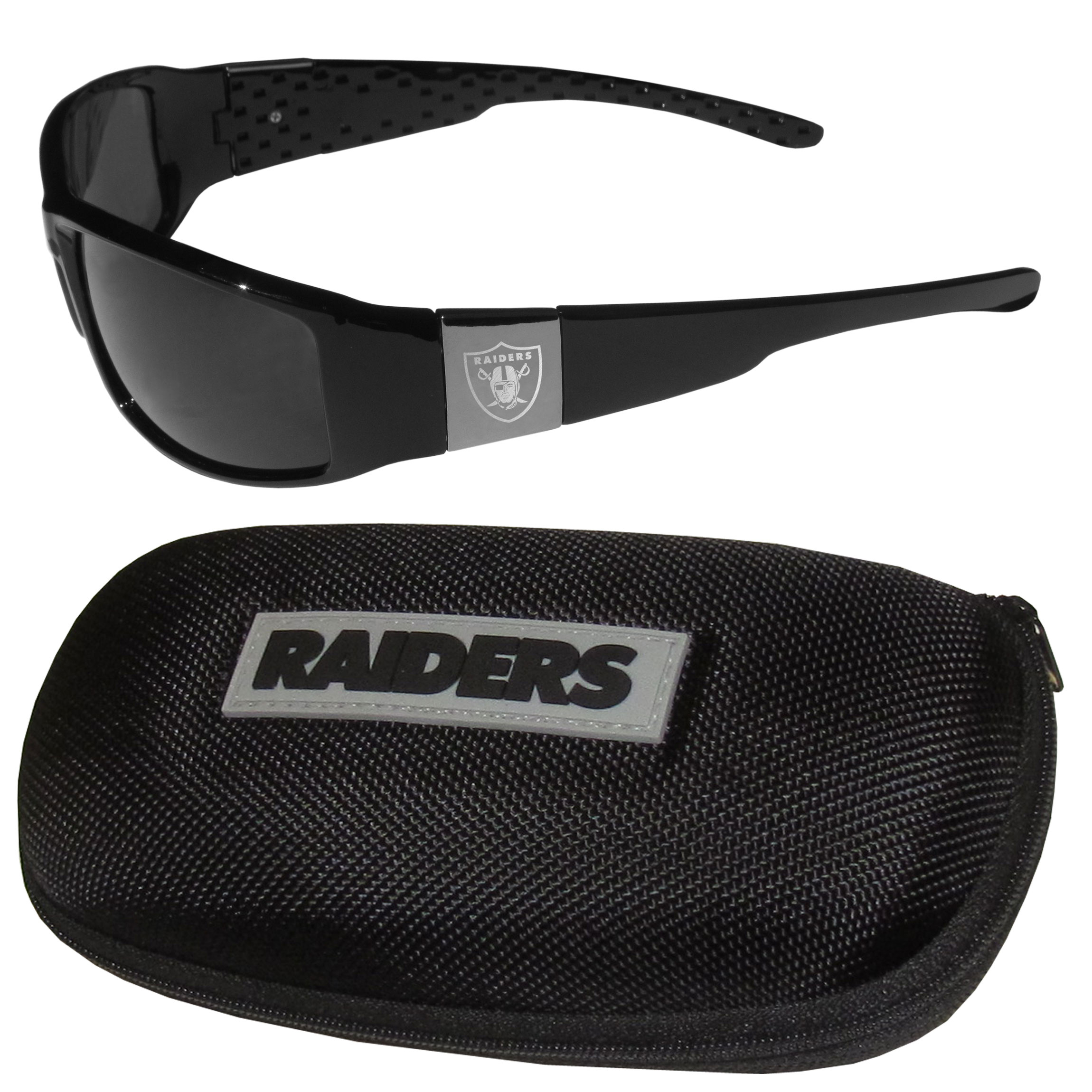 Oakland Raiders Chrome Wrap Sunglasses and Zippered Carrying Case - This set includes our sleek and stylish Oakland Raiders chrome wrap sunglasses and our hard shell, zippered carrying case. The sunglasses feature etched team logos on each arm and 100% UVA/UVB protection. The case features a large and colorful team emblem.