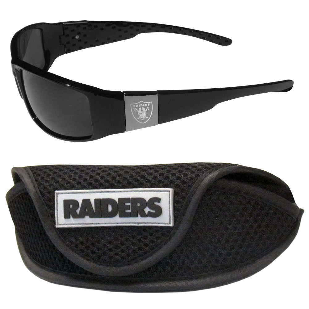 Oakland Raiders Chrome Wrap Sunglasses and Sports Case - Our sleek and stylish Oakland Raiders chrome wrap sunglasses and our sporty mesh case. The sunglasses feature etched team logos on each arm and 100% UVA/UVB protection. The case features a large and colorful team emblem.