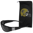 New Orleans Saints Etched Chrome Wrap Sunglasses and Bag
