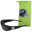 Seattle Seahawks Etched Chrome Wrap Sunglasses and Bag