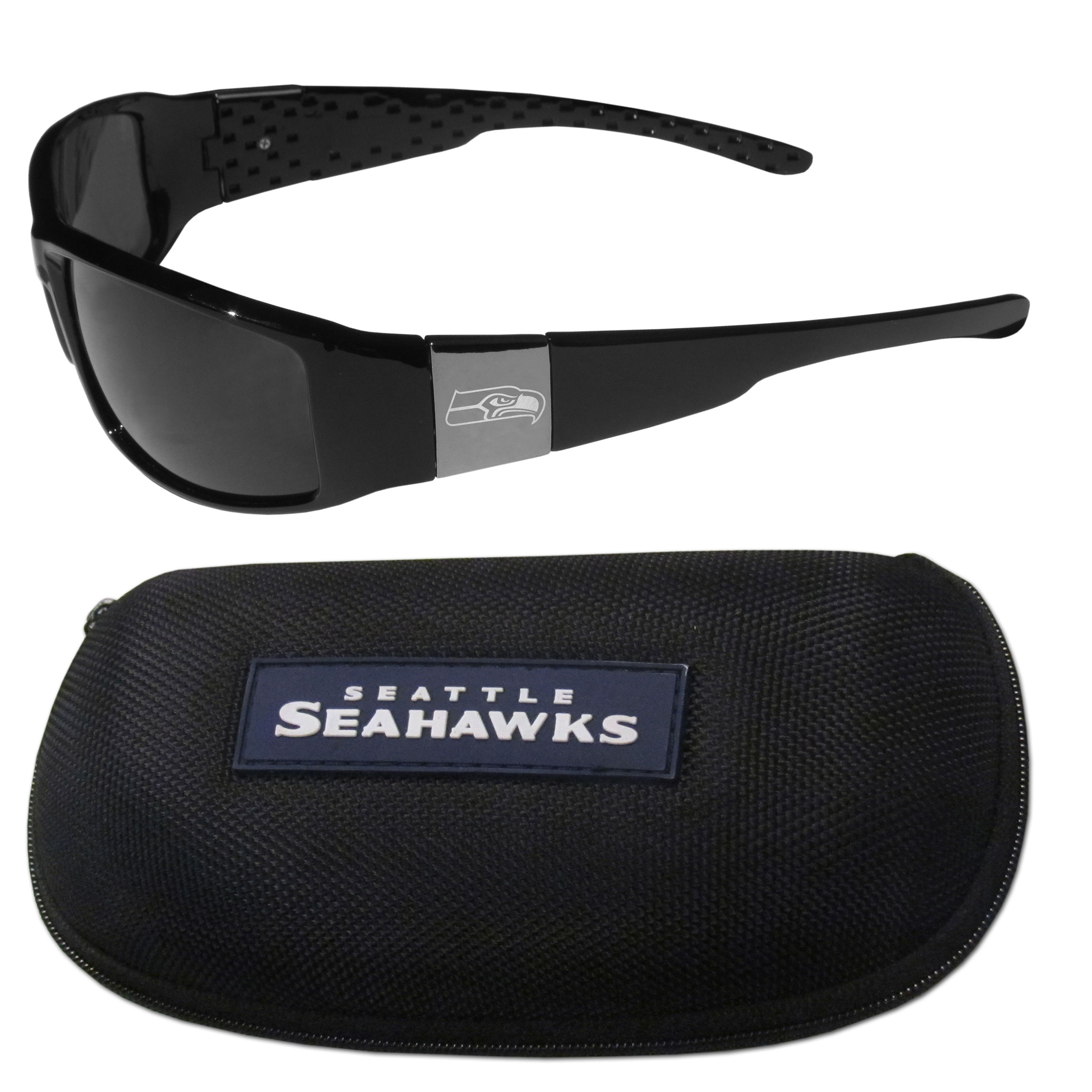 Seattle Seahawks Chrome Wrap Sunglasses and Zippered Carrying Case - This set includes our sleek and stylish Seattle Seahawks chrome wrap sunglasses and our hard shell, zippered carrying case. The sunglasses feature etched team logos on each arm and 100% UVA/UVB protection. The case features a large and colorful team emblem.
