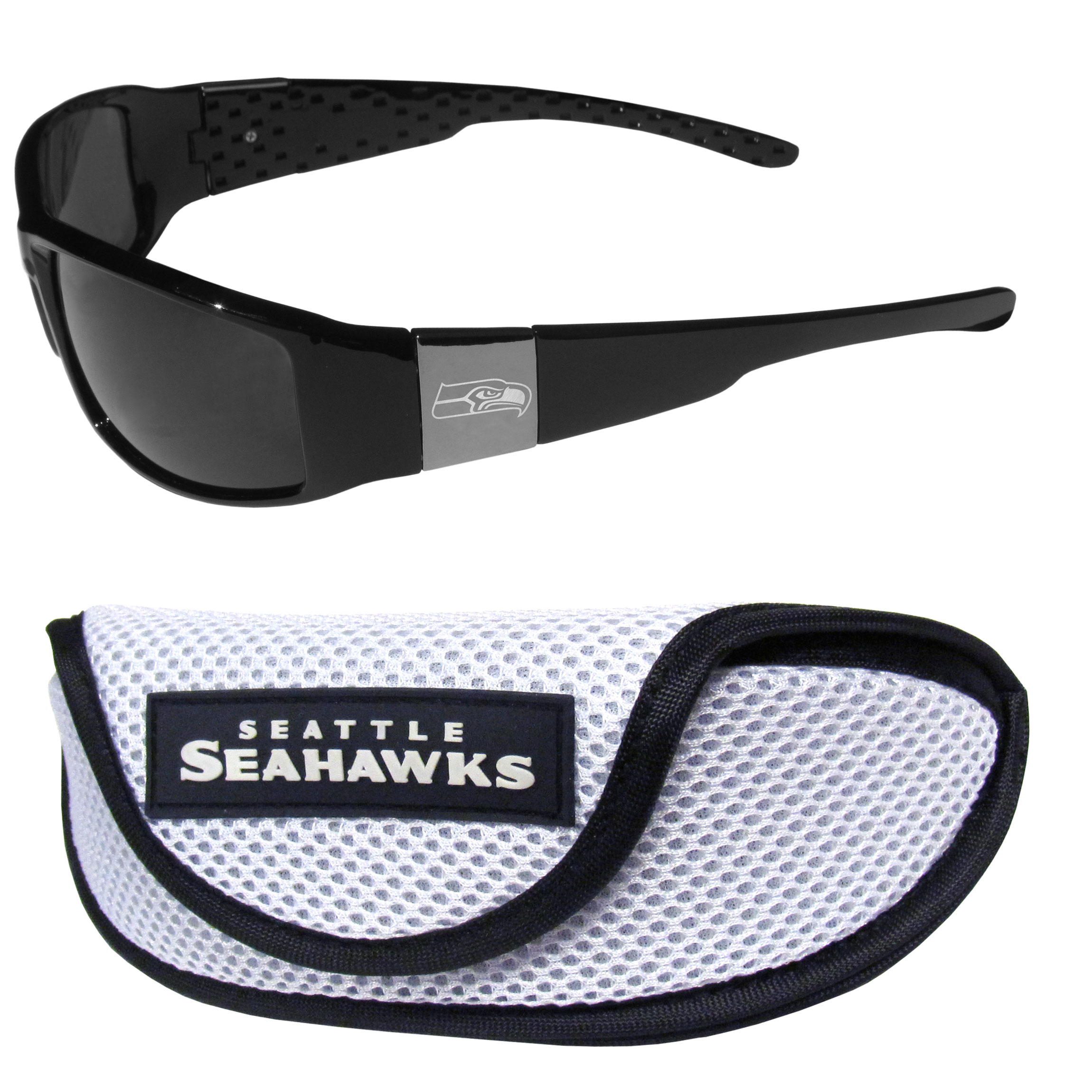 Seattle Seahawks Chrome Wrap Sunglasses and Sports Case - Our sleek and stylish Seattle Seahawks chrome wrap sunglasses and our sporty mesh case. The sunglasses feature etched team logos on each arm and 100% UVA/UVB protection. The case features a large and colorful team emblem.