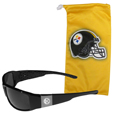 Pittsburgh Steelers Etched Chrome Wrap Sunglasses and Bag
