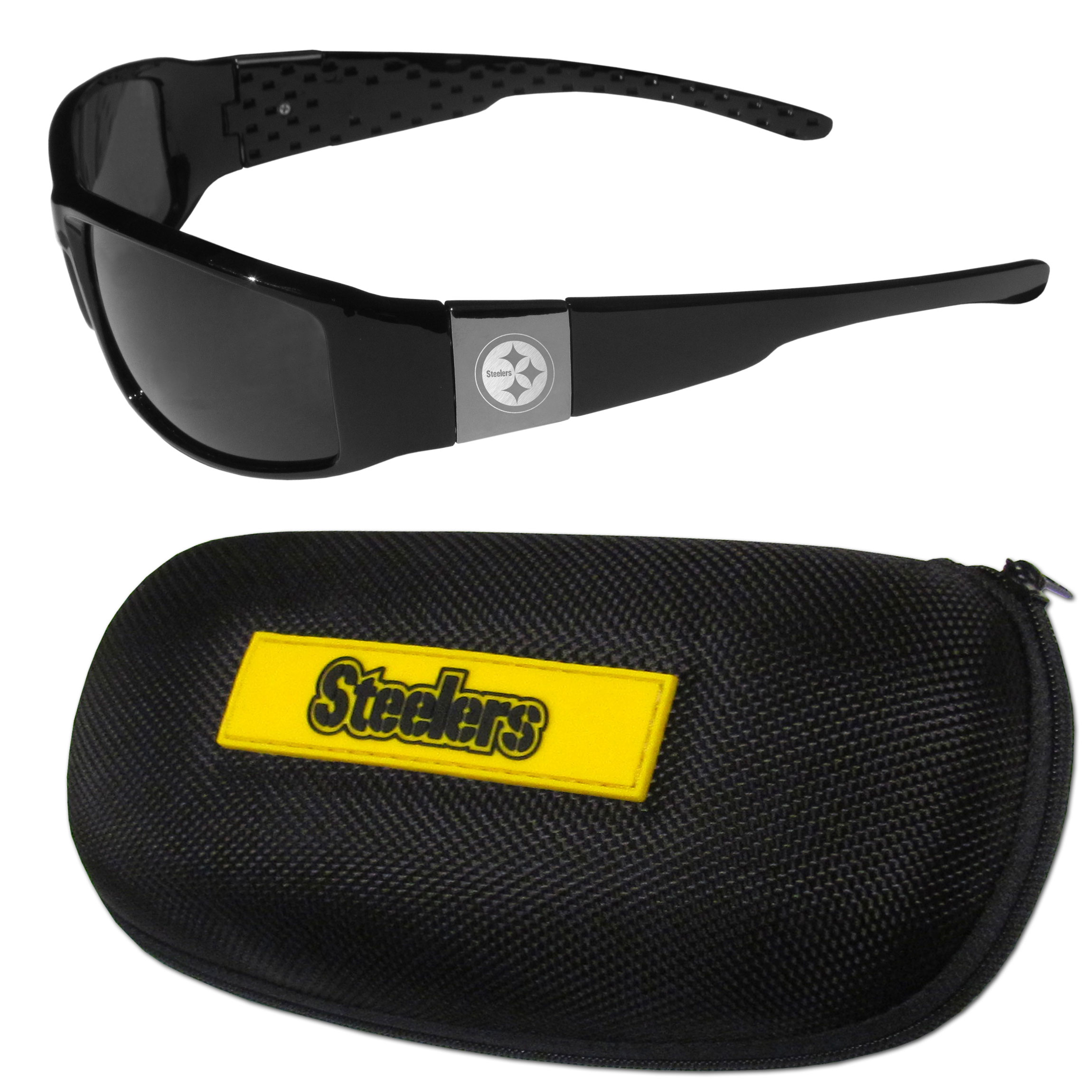 Pittsburgh Steelers Chrome Wrap Sunglasses and Zippered Carrying Case - This set includes our sleek and stylish Pittsburgh Steelers chrome wrap sunglasses and our hard shell, zippered carrying case. The sunglasses feature etched team logos on each arm and 100% UVA/UVB protection. The case features a large and colorful team emblem.