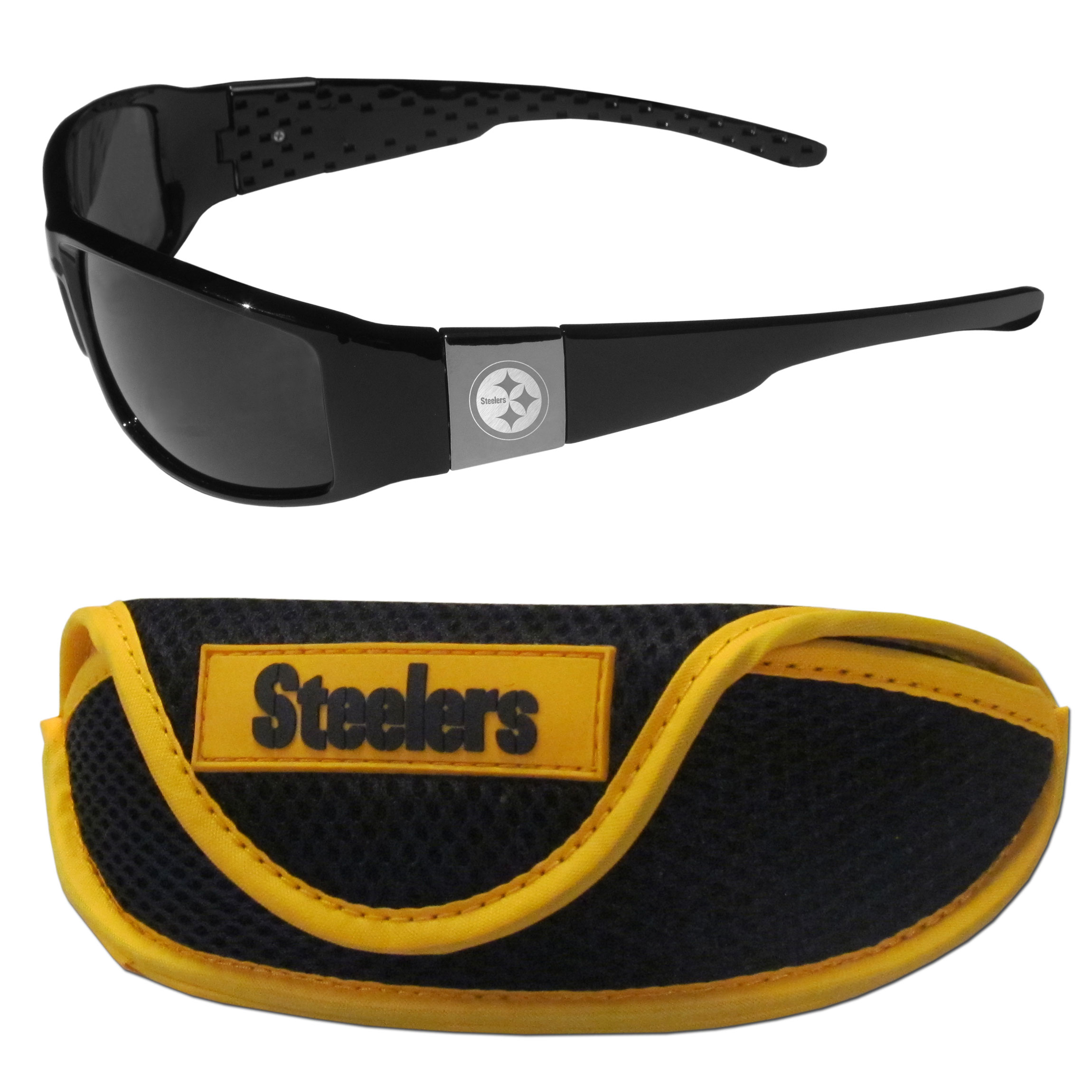 Pittsburgh Steelers Chrome Wrap Sunglasses and Sports Case - Our sleek and stylish Pittsburgh Steelers chrome wrap sunglasses and our sporty mesh case. The sunglasses feature etched team logos on each arm and 100% UVA/UVB protection. The case features a large and colorful team emblem.