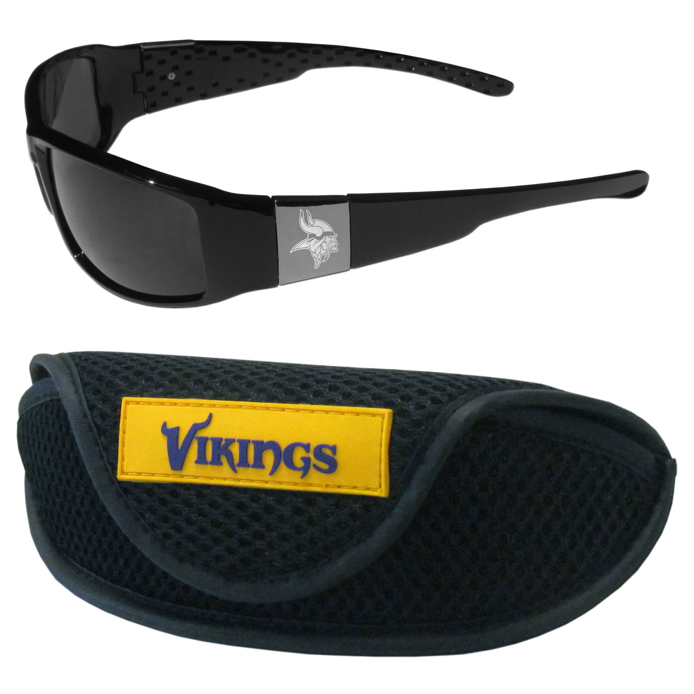 Minnesota Vikings Chrome Wrap Sunglasses and Sports Case - Our sleek and stylish Minnesota Vikings chrome wrap sunglasses and our sporty mesh case. The sunglasses feature etched team logos on each arm and 100% UVA/UVB protection. The case features a large and colorful team emblem.