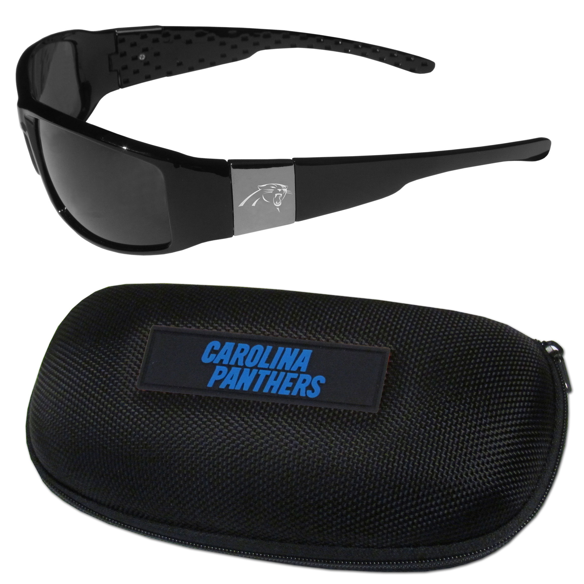 Carolina Panthers Chrome Wrap Sunglasses and Zippered Carrying Case - This set includes our sleek and stylish Carolina Panthers chrome wrap sunglasses and our hard shell, zippered carrying case. The sunglasses feature etched team logos on each arm and 100% UVA/UVB protection. The case features a large and colorful team emblem.
