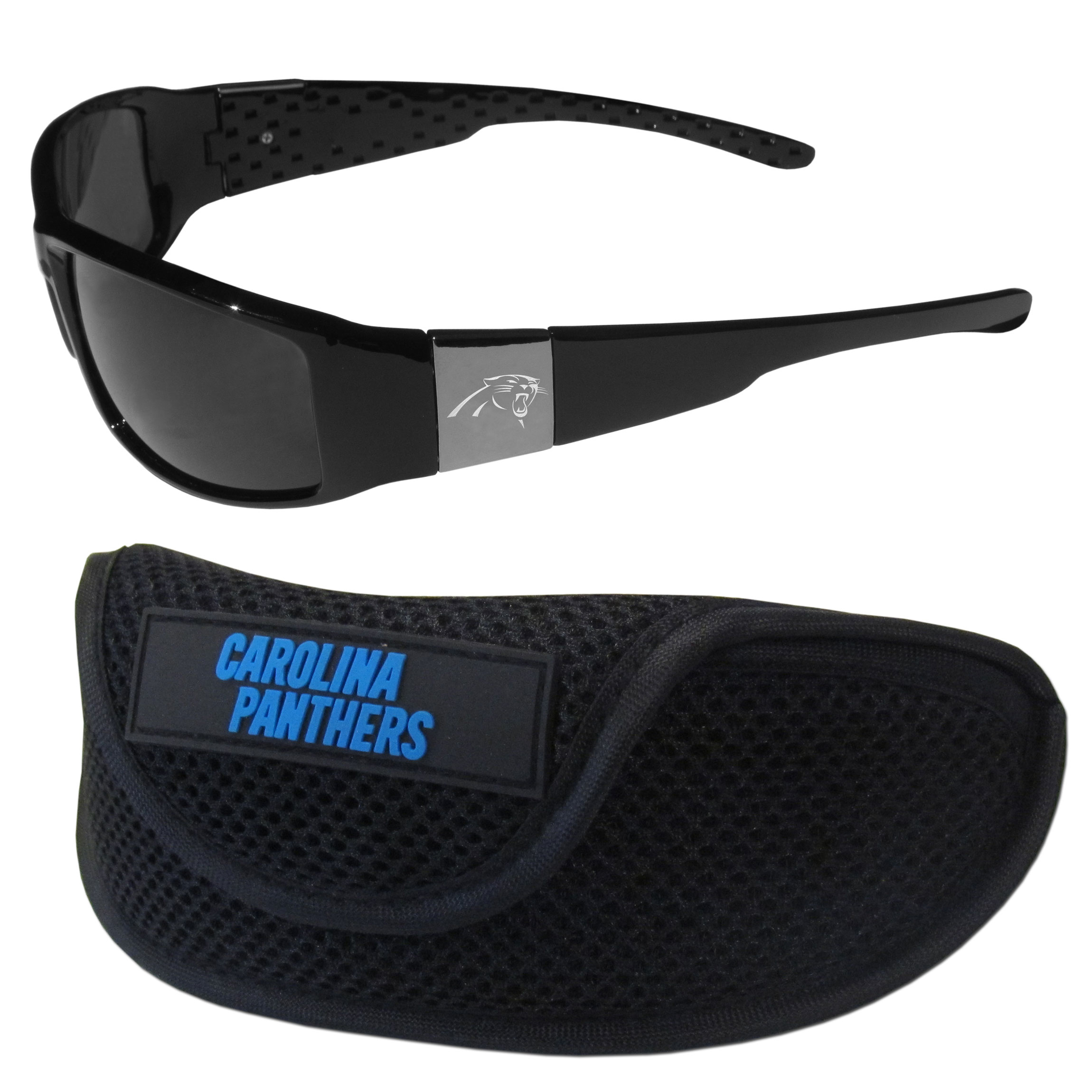 Carolina Panthers Chrome Wrap Sunglasses and Sports Case - Our sleek and stylish Carolina Panthers chrome wrap sunglasses and our sporty mesh case. The sunglasses feature etched team logos on each arm and 100% UVA/UVB protection. The case features a large and colorful team emblem.