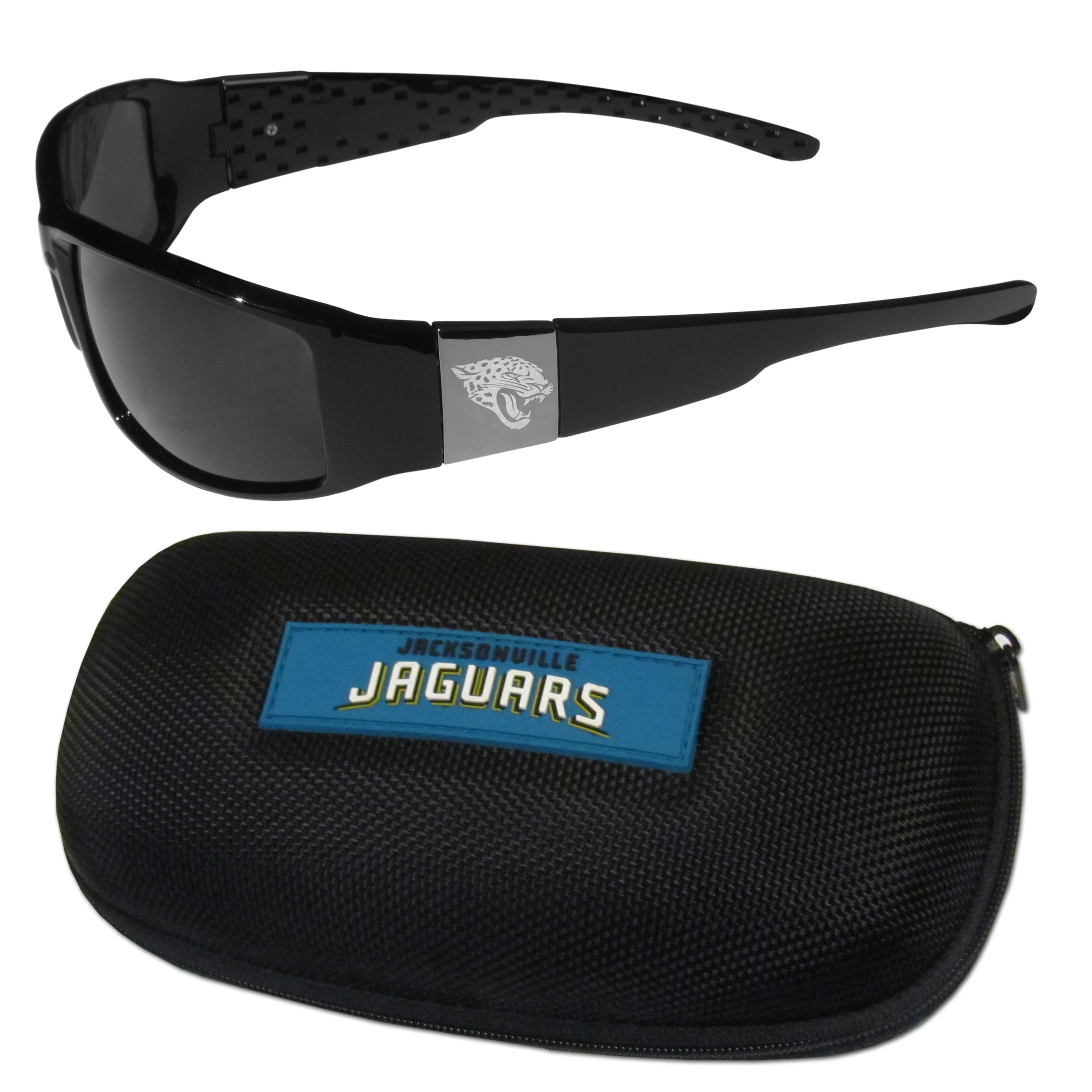 Jacksonville Jaguars Chrome Wrap Sunglasses and Zippered Carrying Case - This set includes our sleek and stylish Jacksonville Jaguars chrome wrap sunglasses and our hard shell, zippered carrying case. The sunglasses feature etched team logos on each arm and 100% UVA/UVB protection. The case features a large and colorful team emblem.