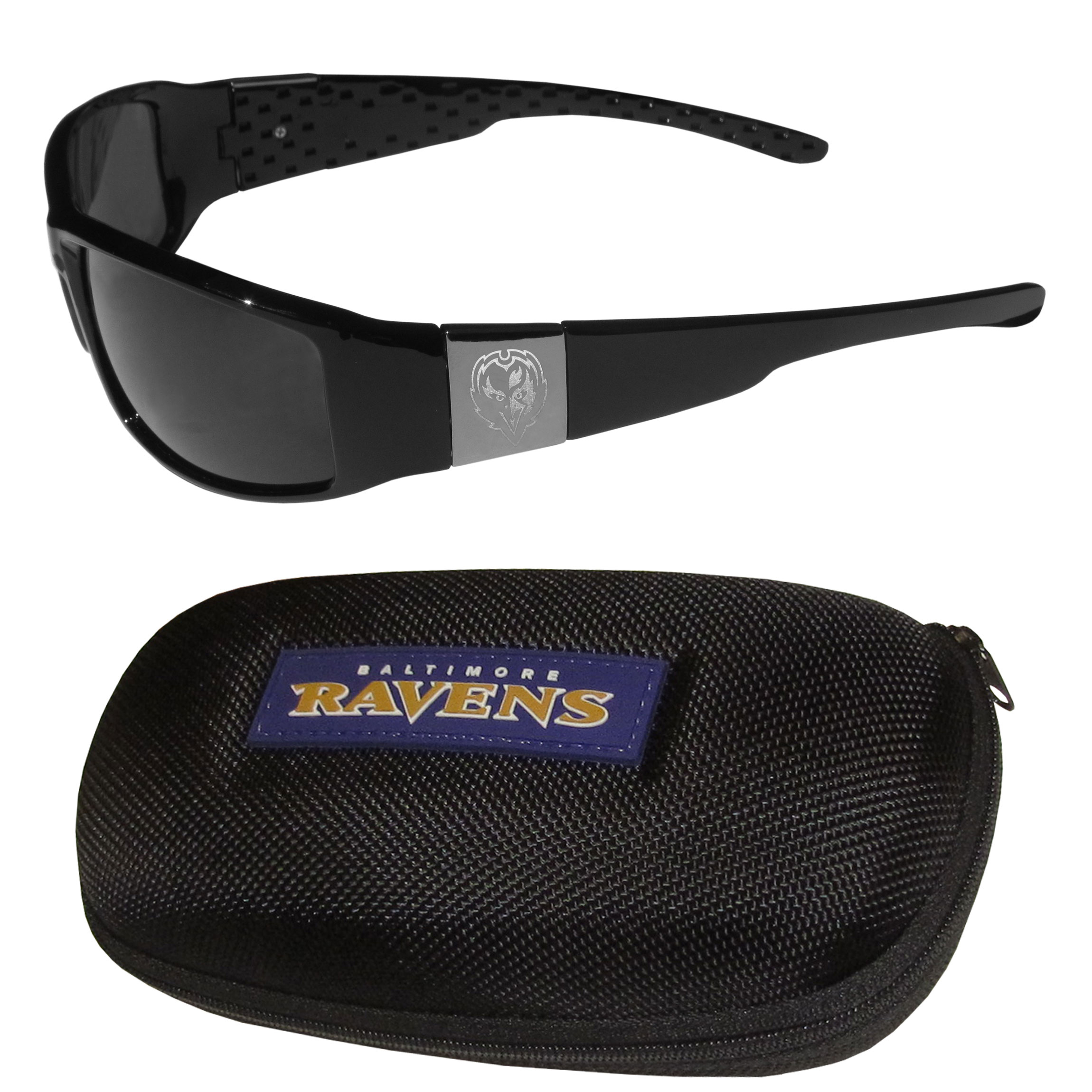 Baltimore Ravens Chrome Wrap Sunglasses and Zippered Carrying Case - This set includes our sleek and stylish Baltimore Ravens chrome wrap sunglasses and our hard shell, zippered carrying case. The sunglasses feature etched team logos on each arm and 100% UVA/UVB protection. The case features a large and colorful team emblem.