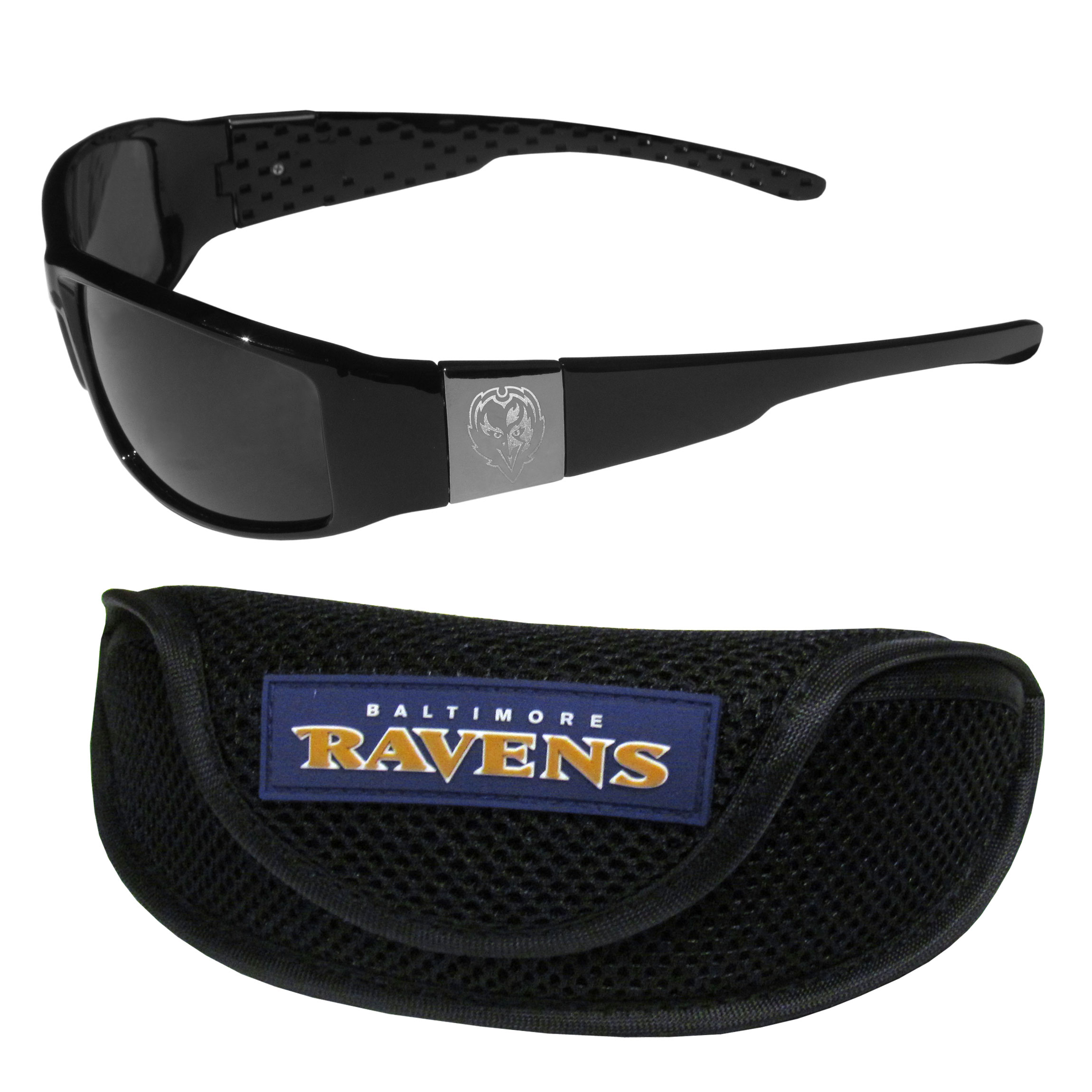 Baltimore Ravens Chrome Wrap Sunglasses and Sports Case - Our sleek and stylish Baltimore Ravens chrome wrap sunglasses and our sporty mesh case. The sunglasses feature etched team logos on each arm and 100% UVA/UVB protection. The case features a large and colorful team emblem.