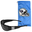 Tennessee Titans Etched Chrome Wrap Sunglasses and Bag