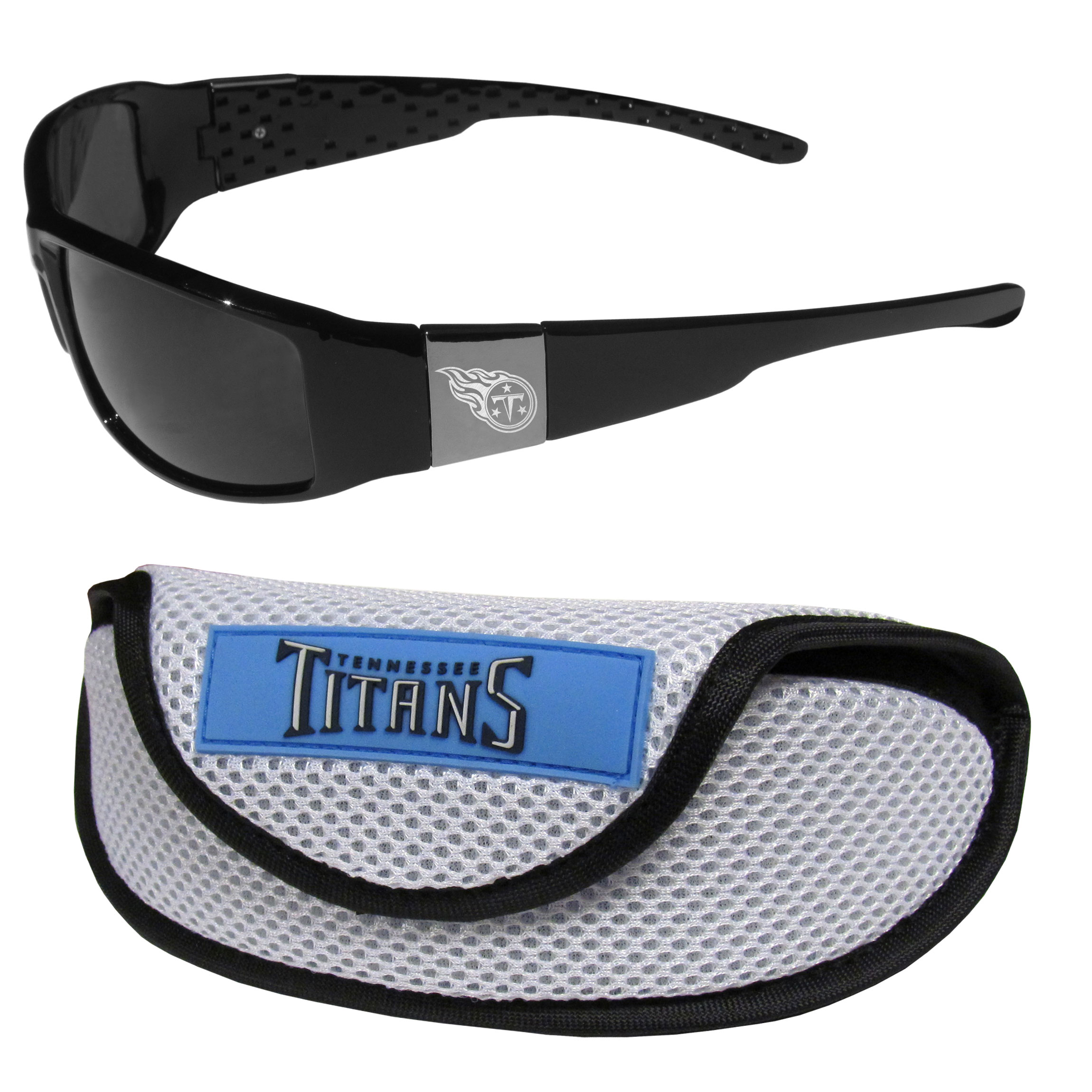 Tennessee Titans Chrome Wrap Sunglasses and Sports Case - Our sleek and stylish Tennessee Titans chrome wrap sunglasses and our sporty mesh case. The sunglasses feature etched team logos on each arm and 100% UVA/UVB protection. The case features a large and colorful team emblem.