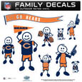 Chicago Bears Large Family Decal Set - Show off your Chicago Bears pride with our Chicago Bears family automotive decals. Each Chicago Bears Large Family Decal Set includes 9 individual family themed decals that each feature the Chicago Bears logo. The large characters are a full 6 inches tall! The 11 x 11 inch Chicago Bears Large Family Decal Set is made of outdoor rated, repositionable vinyl for durability and easy application. Officially licensed NFL product Licensee: Siskiyou Buckle .com