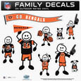 Cincinnati Bengals Large Family Decal Set - Show off your Cincinnati Bengals pride with our Cincinnati Bengals family automotive decals. Each Cincinnati Bengals Large Family Decal Set includes 9 individual family themed decals that each feature the Cincinnati Bengals logo. The large characters are a full 6 inches tall! The 11 x 11 inch Cincinnati Bengals Large Family Decal Set is made of outdoor rated, repositionable vinyl for durability and easy application. Officially licensed NFL product Licensee: Siskiyou Buckle .com