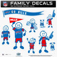 Buffalo Bills Large Family Decal Set - Show off your Buffalo Bills pride with our Buffalo Bills family automotive decals. Each Buffalo Bills Large Family Decal Set includes 9 individual family themed decals that each feature the Buffalo Bills logo. The large characters are a full 6 inches tall! The 11 x 11 inch Buffalo Bills Large Family Decal Set is made of outdoor rated, repositionable vinyl for durability and easy application. Officially licensed NFL product Licensee: Siskiyou Buckle .com