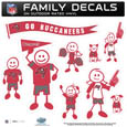 Tampa Bay Buccaneers Large Family Decal Set - Show off your Tampa Bay Buccaneers pride with our Tampa Bay Buccaneers family automotive decals. Each Tampa Bay Buccaneers Large Family Decal Set includes 9 individual family themed decals that each feature the Tampa Bay Buccaneers logo. The large characters are a full 6 inches tall! The 11 x 11 inch Tampa Bay Buccaneers Large Family Decal Set is made of outdoor rated, repositionable vinyl for durability and easy application. Officially licensed NFL product Licensee: Siskiyou Buckle .com