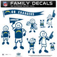 Los Angeles Chargers Large Family Decal Set - Show off your Los Angeles Chargers pride with our Los Angeles Chargers family automotive decals. Each Los Angeles Chargers Large Family Decal Set includes 9 individual family themed decals that each feature the Los Angeles Chargers logo. The large characters are a full 6 inches tall! The 11 x 11 inch Los Angeles Chargers Large Family Decal Set is made of outdoor rated, repositionable vinyl for durability and easy application. Officially licensed NFL product Licensee: Siskiyou Buckle Thank you for visiting CrazedOutSports.com