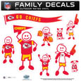 Kansas City Chiefs Large Family Decal Set - Show off your Kansas City Chiefs pride with our Kansas City Chiefs family automotive decals. Each Kansas City Chiefs Large Family Decal Set includes 9 individual family themed decals that each feature the Kansas City Chiefs logo. The large characters are a full 6 inches tall! The 11 x 11 inch Kansas City Chiefs Large Family Decal Set is made of outdoor rated, repositionable vinyl for durability and easy application. Officially licensed NFL product Licensee: Siskiyou Buckle Thank you for visiting CrazedOutSports.com