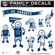 Dallas Cowboys Large Family Decal Set - Show off your Dallas Cowboys pride with our Dallas Cowboys family automotive decals. Each Dallas Cowboys Large Family Decal Set includes 9 individual family themed decals that each feature the Dallas Cowboys logo. The large characters are a full 6 inches tall! The 11 x 11 inch Dallas Cowboys Large Family Decal Set is made of outdoor rated, repositionable vinyl for durability and easy application. Officially licensed NFL product Licensee: Siskiyou Buckle Thank you for visiting CrazedOutSports.com