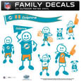Miami Dolphins Large Family Decal Set - Show off your Miami Dolphins pride with our Miami Dolphins family automotive decals. Each Miami Dolphins Large Family Decal Set includes 9 individual family themed decals that each feature the Miami Dolphins logo. The large characters are a full 6 inches tall! The 11 x 11 inch Miami Dolphins Large Family Decal Set is made of outdoor rated, repositionable vinyl for durability and easy application. Officially licensed NFL product Licensee: Siskiyou Buckle .com
