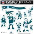 Philadelphia Eagles Large Family Decal Set - Show off your Philadelphia Eagles pride with our Philadelphia Eagles family automotive decals. Each Philadelphia Eagles Large Family Decal Set includes 9 individual family themed decals that each feature the Philadelphia Eagles logo. The large characters are a full 6 inches tall! The 11 x 11 inch Philadelphia Eagles Family Decal Set is made of outdoor rated, repositionable vinyl for durability and easy application. Officially licensed NFL product Licensee: Siskiyou Buckle .com