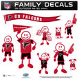 Atlanta Falcons Large Family Decal Set - Show off your Atlanta Falcons pride with our Atlanta Falcons family automotive decals. Each Atlanta Falcons Large Family Decal Set includes 9 individual family themed decals that each feature the Atlanta Falcons logo. The large characters are a full 6 inches tall! The 11 x 11 inch Atlanta Falcons Large Family Decal Set is made of outdoor rated, repositionable vinyl for durability and easy application. Officially licensed NFL product Licensee: Siskiyou Buckle .com