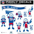 New York Giants Large Family Decal Set - Show off your New York Giants pride with our New York Giants family automotive decals. Each New York Giants Large Family Decal Set includes 9 individual family themed decals that each feature the New York Giants logo. The large characters are a full 6 inches tall! The 11 x 11 inch New York Giants Large Family Decal Set is made of outdoor rated, repositionable vinyl for durability and easy application. Officially licensed NFL product Licensee: Siskiyou Buckle .com