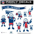 New England Patriots Large Family Decal Set - Show off your New England Patriots pride with our New England Patriots family automotive decals. Each New England Patriots Large Family Decal Set includes 9 individual family themed decals that each feature the New England Patriots logo. The large characters are a full 6 inches tall! The 11 x 11 inch New England Patriots Large Family Decal Set is made of outdoor rated, repositionable vinyl for durability and easy application. Officially licensed NFL product Licensee: Siskiyou Buckle .com