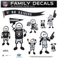 Oakland Raiders Large Family Decal Set - Show off your Oakland Raiders pride with our Oakland Raiders family automotive decals. Each Oakland Raiders Large Family Decal Set includes 9 individual family themed decals that each feature the Oakland Raiders logo. The large characters are a full 6 inches tall! The 11 x 11 inch Oakland Raiders Large Family Decal Set is made of outdoor rated, repositionable vinyl for durability and easy application. Officially licensed NFL product Licensee: Siskiyou Buckle Thank you for visiting CrazedOutSports.com