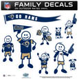 Los Angeles Rams Large Family Decal Set - Show off your Los Angeles Rams pride with our Los Angeles Rams family automotive decals. Each Los Angeles Rams Large Family Decal Set includes 9 individual family themed decals that each feature the Los Angeles Rams logo. The large characters are a full 6 inches tall! The 11 x 11 inch Los Angeles Rams Large Family Decal Set is made of outdoor rated, repositionable vinyl for durability and easy application. Officially licensed NFL product Licensee: Siskiyou Buckle .com