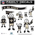 New Orleans Saints Large Family Decal Set - Show off your New Orleans Saints pride with our New Orleans Saints family automotive decals. Each New Orleans Saints Large Family Decal Set includes 9 individual family themed decals that each feature the New Orleans Saints logo. The large characters are a full 6 inches tall! The 11 x 11 inch New Orleans Saints Large Family Decal Set is made of outdoor rated, repositionable vinyl for durability and easy application. Officially licensed NFL product Licensee: Siskiyou Buckle .com