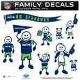 Seattle Seahawks Large Family Decal Set - Show off your Seattle Seahawks pride with our Seattle Seahawks family automotive decals. Each Seattle Seahawks Large Family Decal Set includes 9 individual family themed decals that each feature the Seattle Seahawks logo. The large characters are a full 6 inches tall! The 11 x 11 inch Seattle Seahawks Large Family Decal Set is made of outdoor rated, repositionable vinyl for durability and easy application. Officially licensed NFL product Licensee: Siskiyou Buckle Thank you for visiting CrazedOutSports.com
