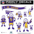 Minnesota Vikings Large Family Decal Set - Show off your Minnesota Vikings pride with our Minnesota Vikings family automotive decals. Minnesota Vikings Large Family Decal Set includes 9 individual family themed decals that each feature the Minnesota Vikings logo. The large characters are a full 6 inches tall! The 11 x 11 inch Minnesota Vikings Large Family Decal Set is made of outdoor rated, repositionable vinyl for durability and easy application. Officially licensed NFL product Licensee: Siskiyou Buckle Thank you for visiting CrazedOutSports.com