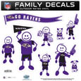 Baltimore Ravens Large Family Decal Set - Show off your Baltimore Ravens pride with our Baltimore Ravens family automotive decals. Each Baltimore Ravens Large Family Decal Set includes 9 individual family themed decals that each feature the Baltimore Ravens logo. The large characters are a full 6 inches tall! The 11 x 11 inch Baltimore Ravens Large Family Decal Set is made of outdoor rated, repositionable vinyl for durability and easy application. Officially licensed NFL product Licensee: Siskiyou Buckle .com