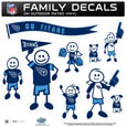 Tennessee Titans Large Family Decal Set - Show off your Tennessee Titans pride with our Tennessee Titans family automotive decals. Each Tennessee Titans Large Family Decal Set includes 9 individual family themed decals that each feature the Tennessee Titans logo. The large characters are a full 6 inches tall! The 11 x 11 inch Tennessee Titans Large Family Decal Set is made of outdoor rated, repositionable vinyl for durability and easy application. Officially licensed NFL product Licensee: Siskiyou Buckle .com