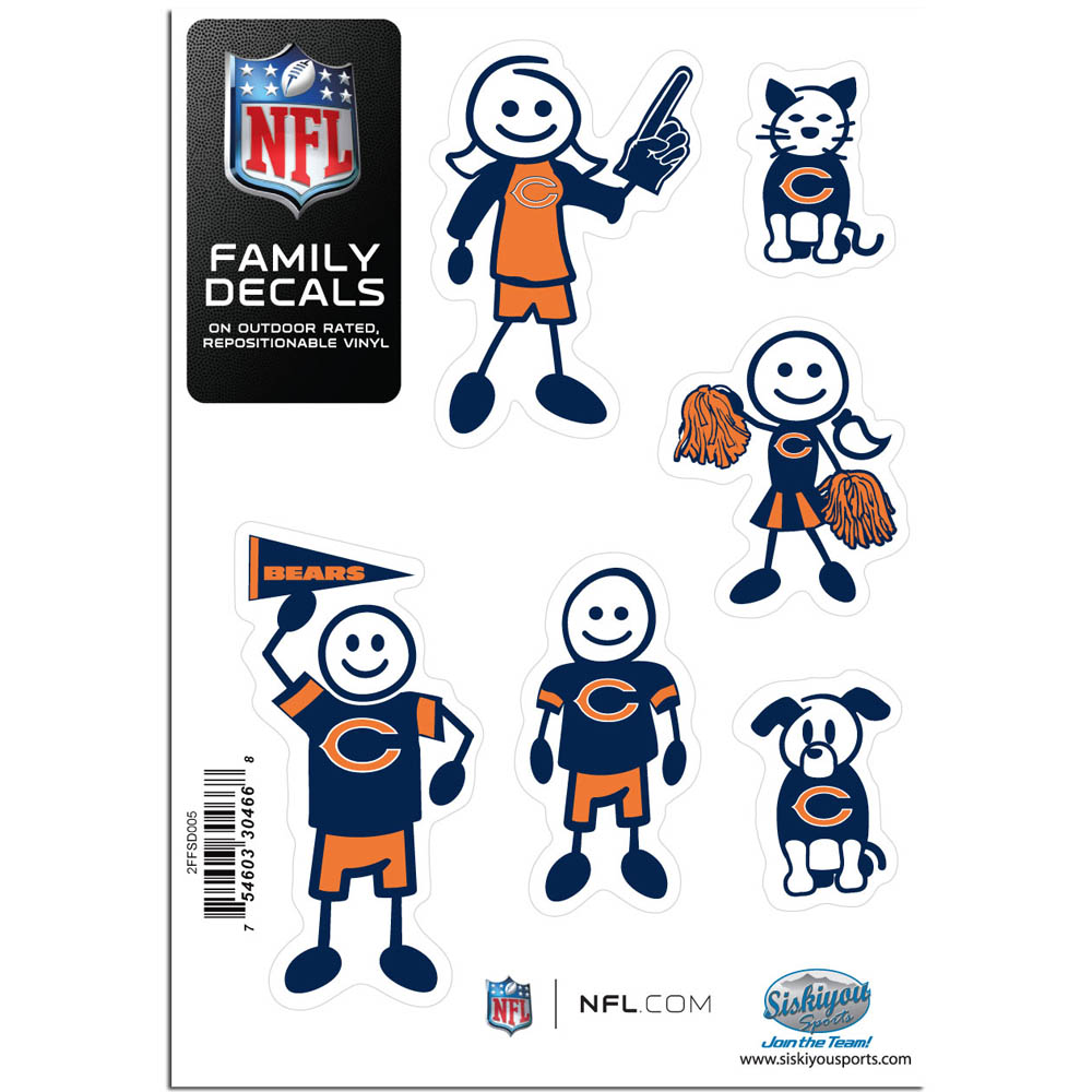 Chicago Bears Family Decal Set Small - Show off your team pride with our Chicago Bears family automotive decals. The set includes 6 individual family themed decals that each feature the team logo. The 5 x 7 inch decal set is made of outdoor rated, repositionable vinyl for durability and easy application.