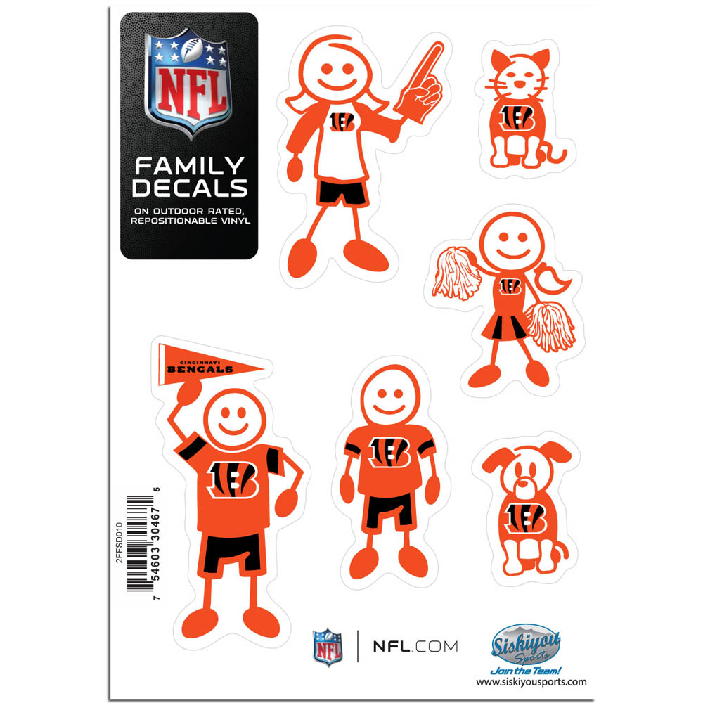 Cincinnati Bengals Family Decal Set Small - Show off your team pride with our Cincinnati Bengals family automotive decals. The set includes 6 individual family themed decals that each feature the team logo. The 5 x 7 inch decal set is made of outdoor rated, repositionable vinyl for durability and easy application.