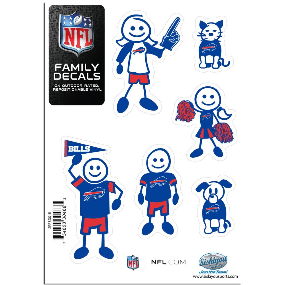 Buffalo Bills Family Decal Set Small - Show off your team pride with our Buffalo Bills family automotive decals. The set includes 6 individual family themed decals that each feature the team logo. The 5 x 7 inch decal set is made of outdoor rated, repositionable vinyl for durability and easy application.